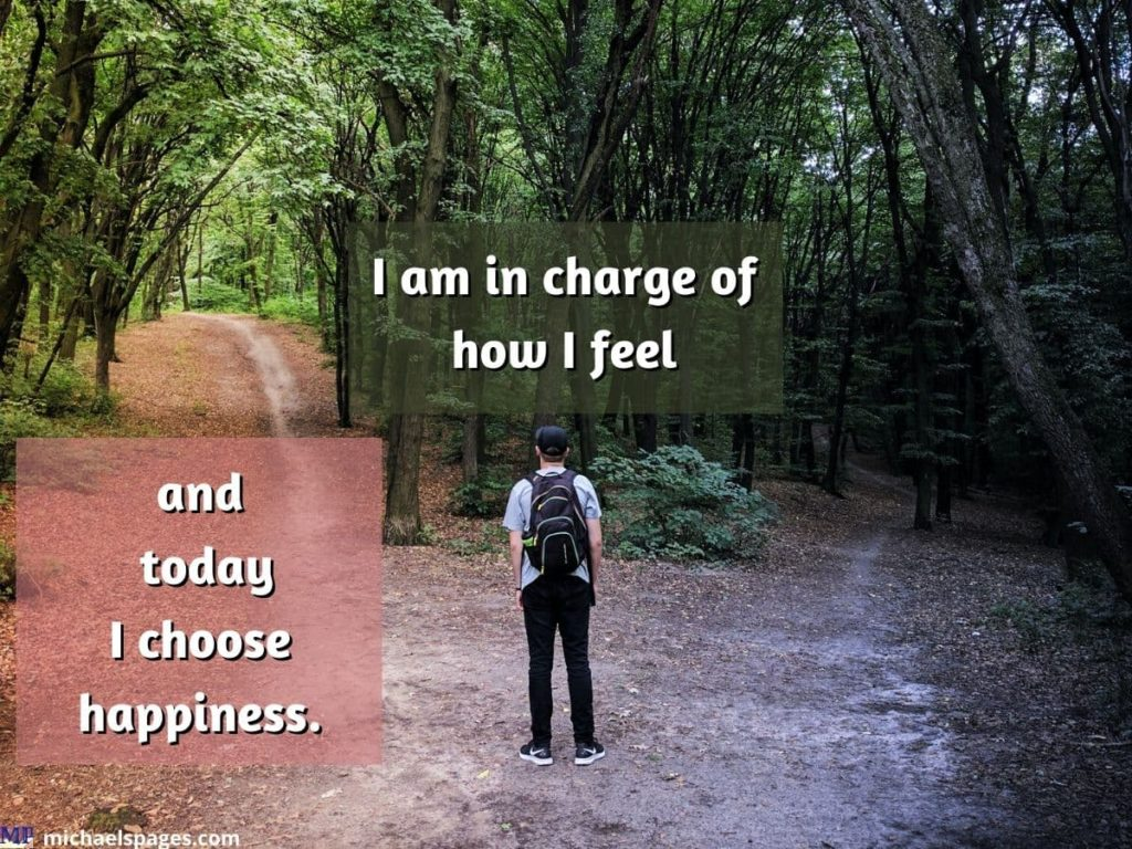 Man choosing way in forest and quote about happiness