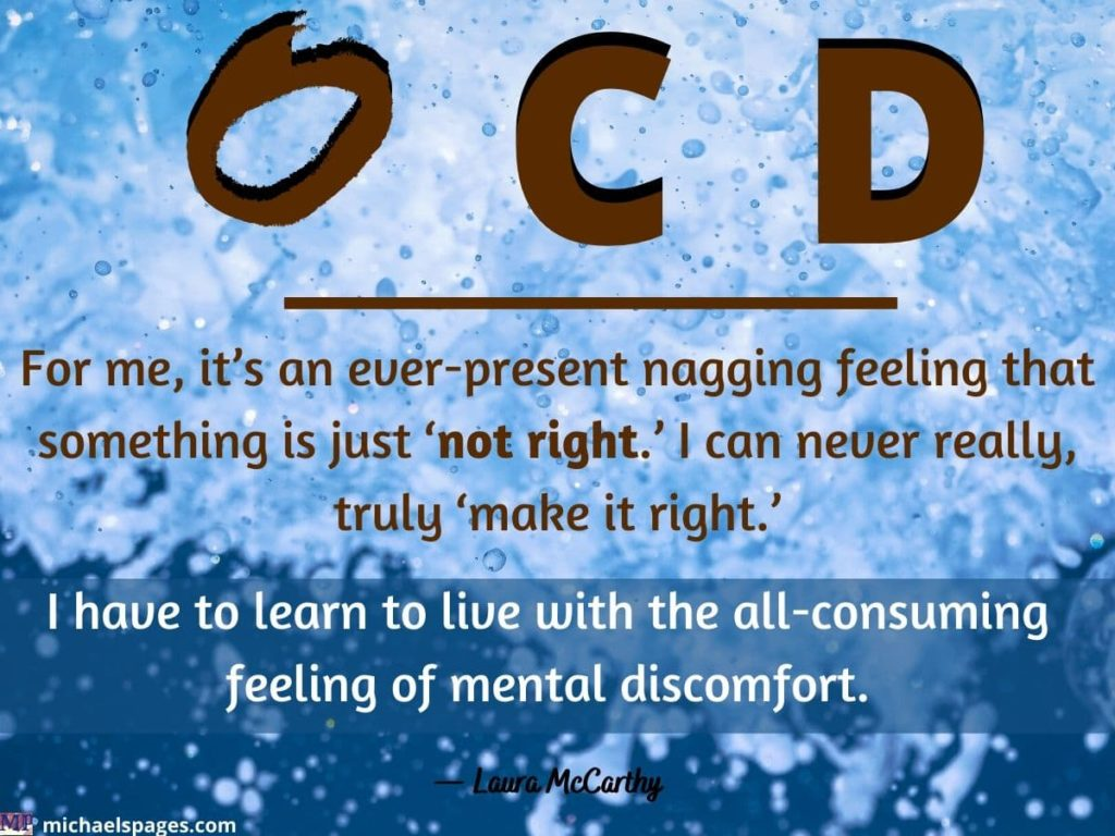 letters O,C,D with O letter uneven and OCD quote