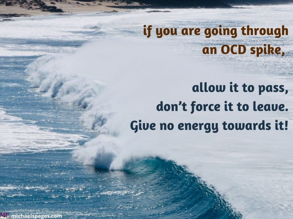 Single wave on calm waters and OCD quote