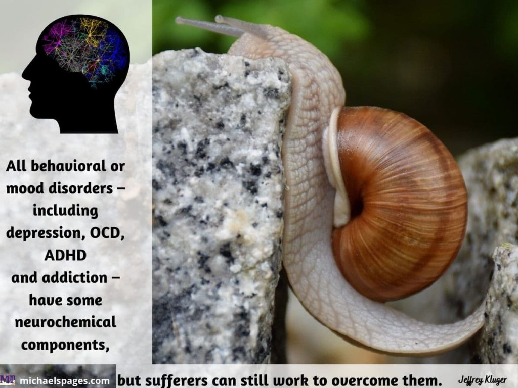 Snail overcoming obstacle and quote about different mental disorders