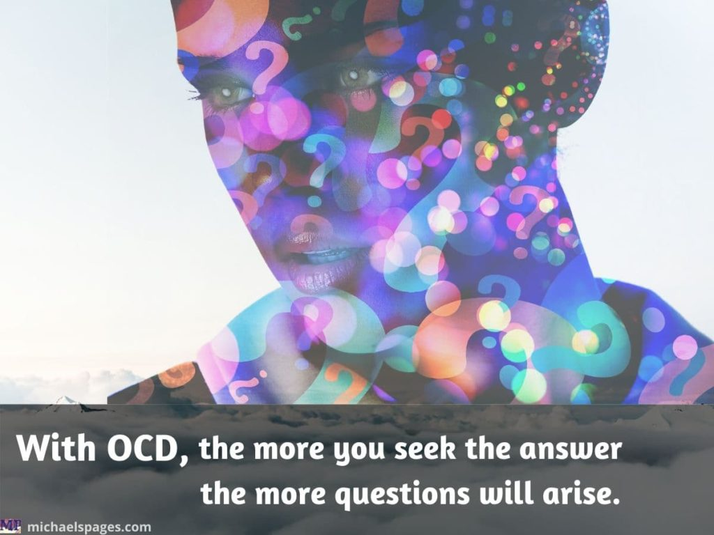 Woman's head with many question marks and OCD quote
