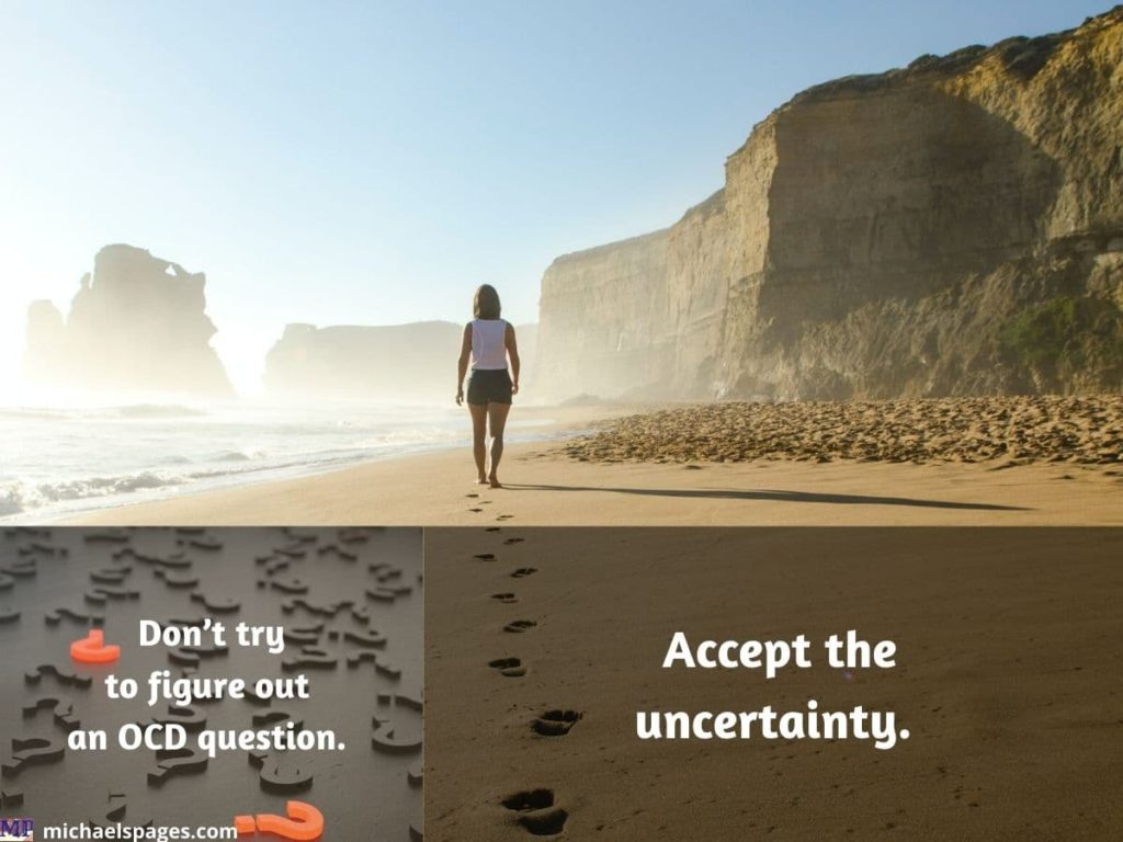 Woman moving forward toward mist and quote about accepting uncertainty